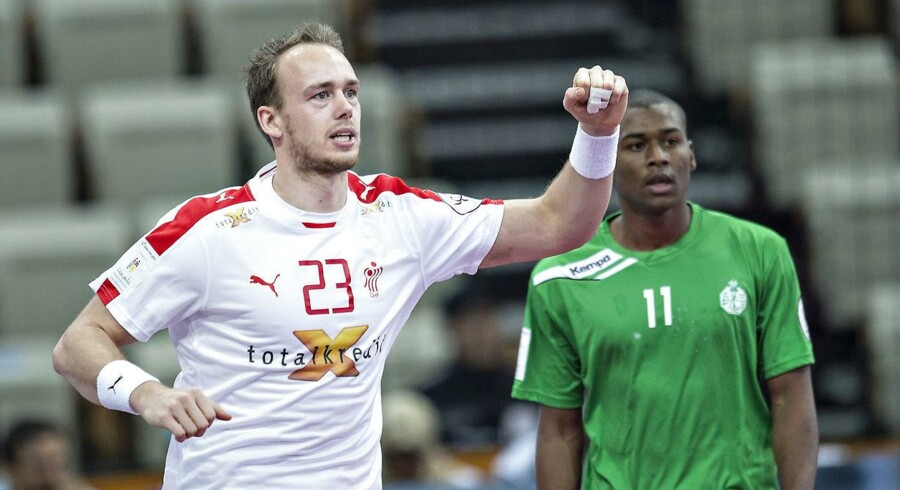 Henrik Toft spillede glimrende og scorede ikke færre end otte mål i første halvleg af kampen ved håndbold-VM mod Saudi-Arabien.