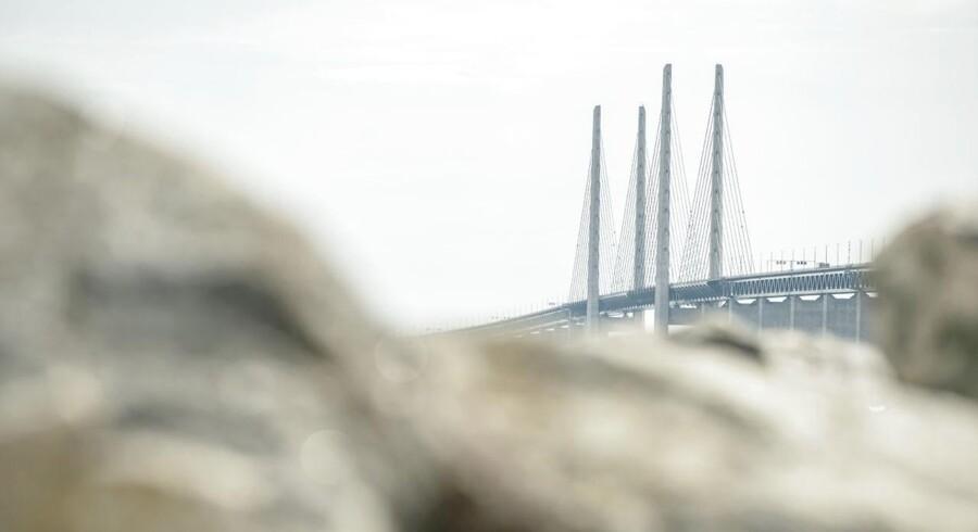 Arkivfoto. Øresundsbron er en af de broer, der fredag er ramt af blæst.
