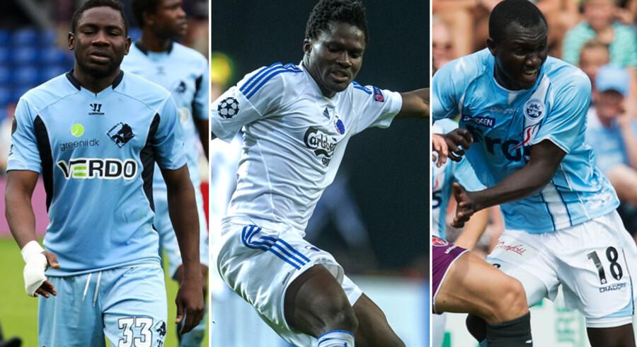 Fra venstre: Adama Tamboura, Daniel Amartey og Adama Guira er alle udtaget til Africa Cup of Nations midt i Superligaens opstartsperiode.