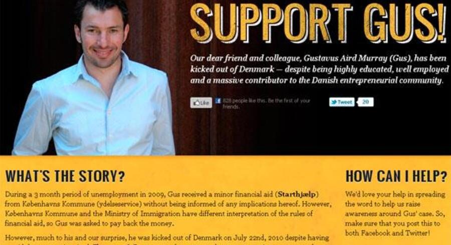 Et screendum fra Gus Murrays hjemmeside.