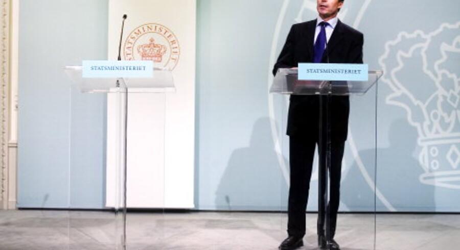 Alt var gjort klart til mødet med pressen i Statsministeriet - men den tyrkiske premierminister dukkede aldrig op.<br>Foto: Ditte Valente, Scanpix