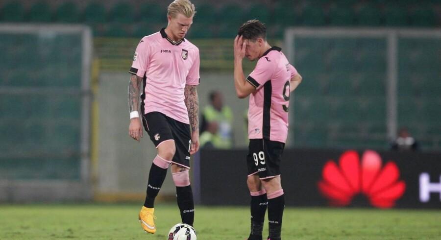 Simon Makienok får sparsomt med spilletid i Palermo.