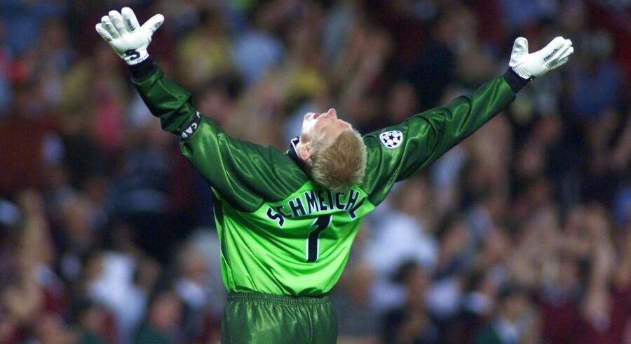 Peter Schmeichel stoppede på toppen i United. Her ses han efter Teddy Sheringhams scoring til 2-1 i CL-finalen mod Bayern München i '99.