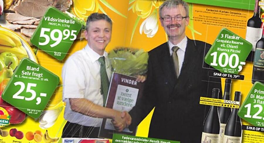 Fødevareministeren i en reklame for SuperBest.