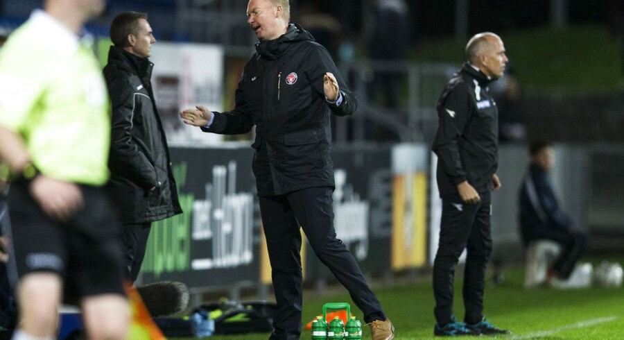 FCM træner Glen Riddersholm var ikke tilfreds med, at Marvin Pourie fik lov til at blive på banen under lørdagens kamp mellem SønderjyskE og FC Midtjylland.