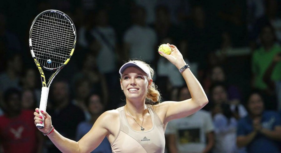 Caroline Wozniacki fejrer sejren over Petra Kvitova