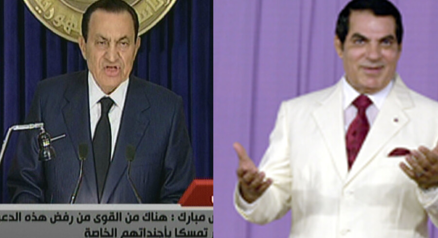 Mubarak (tv) og Ben Ali (th)