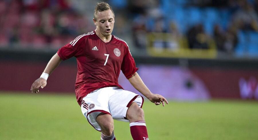 U21: Danmark - Bulgarien, EM kvalifikation, Aalborg Stadion. DKs Uffe Bech, FC Nordsjælland