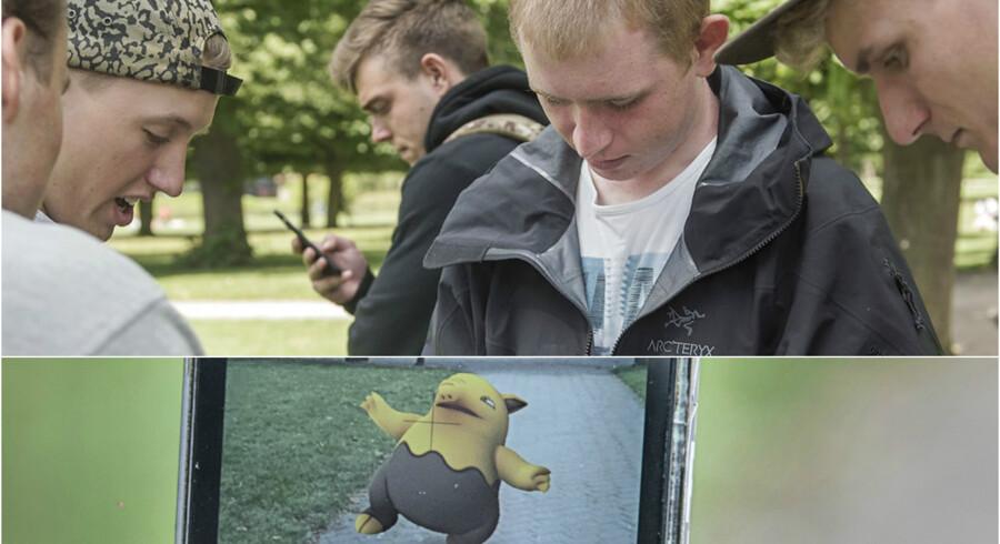 Pokemon Go entusiaster, der viser rundt i den virituelle/virkelig Pokemon-verden. Her er det Sebastian Gluud på 21, Casper Ege på 23, Tobias Grøndahl på 21, Mathias Rask på 21 og Emil Møller 20. Og en Drowzee nederst.