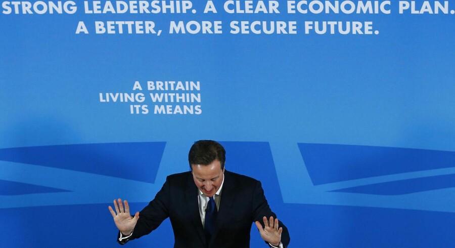 Storbritanniens premierminister David Cameron vil forbyde krypteret kommunikation, fordi efterretningstjenesterne ikke kan aflytte den, sagde han på et møde i Nottingham i det centrale England forud for parlamentsvalget 7. maj. Foto. Darren Staples, Reuters/Scanpix