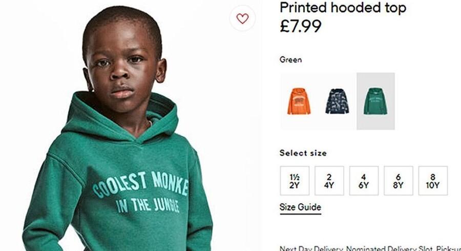 H&M-reklamen, der vakte så stor forargelse, at virksomheden trak den tilbage. Foto: Ritzau/Scanpix
