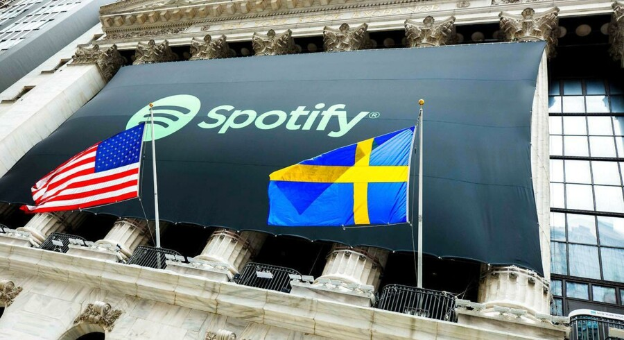 Musiktjenesten Spotify bragede ind på den amerikanske børs tirsdag d. 3. april 2018. Foto: Courtney Crow via Reuters.