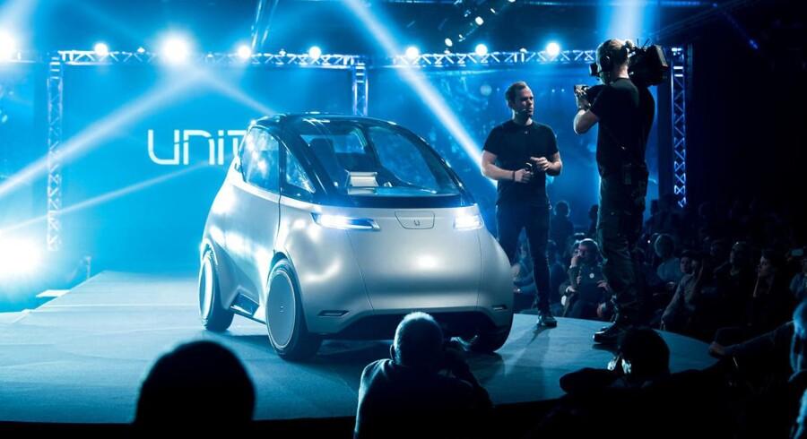Uniti One ved verdenspremieren i Landskrona, hvor den nye elbil også skal produceres. Produktionen skal starte om godt et år, og fra 2020 skal den nå 50.000 styk om året