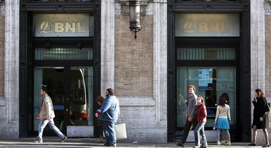 Italienske banker har i gennemsnit 17 pct. af sin lån portefølje i meget risikable lån, hvilket er mere end 10 gange så meget, som de amerikanske banker havde under finanskrisen. Arkivfoto.