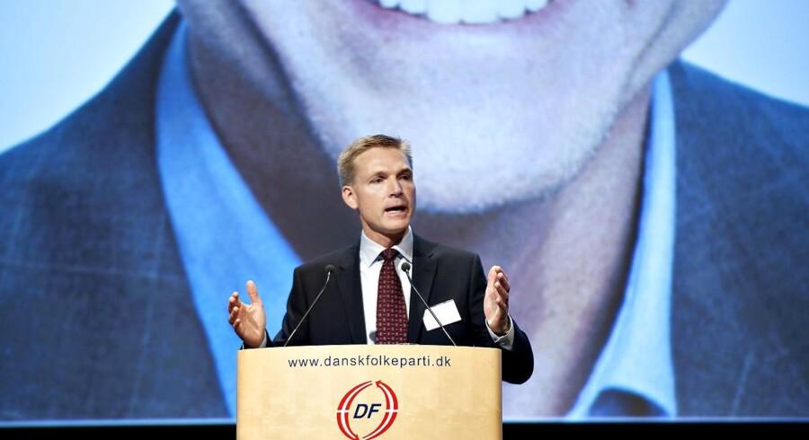 Arkivfoto: Dansk Folkepartis formand, Kristian Thulesen Dahl, holder tale på sit partis årsmøde.