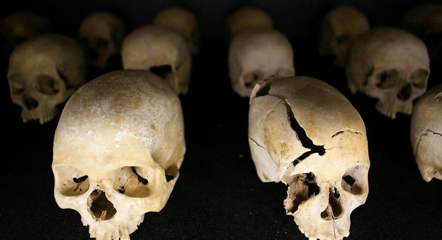 Preserved human skulls are seen on display at the Kigali Genocide Memorial Centre, as the country prepares to commemorate the twentieth anniversary of the 1994 genocide in the Rwandan capital Kigali April 5, 2014. An estimated 800, 000 people were killed in 100 days during this genocide. REUTERS/Noor Khamis (RWANDA - Tags: ANNIVERSARY CIVIL UNREST POLITICS)