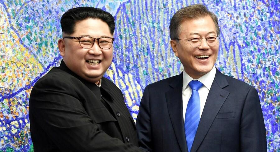 Nordkorea truer med at aflyse det planlagte topmøde mellem USA's præsident, Donald Trump, og Nordkoreas leder, Kim Jong-un. Korea Summit Press Pool/Pool via Reuters