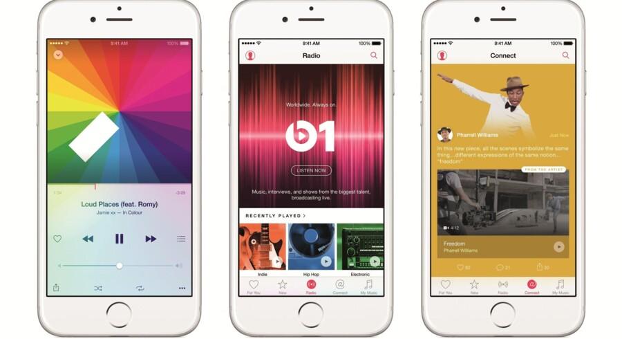 Apple Music kombinerer adgang til millioner af sange med ens egen musik samt en særlig internetradio i én app, som i øvrigt også kommer til Google Android-telefoner. Foto: Apple