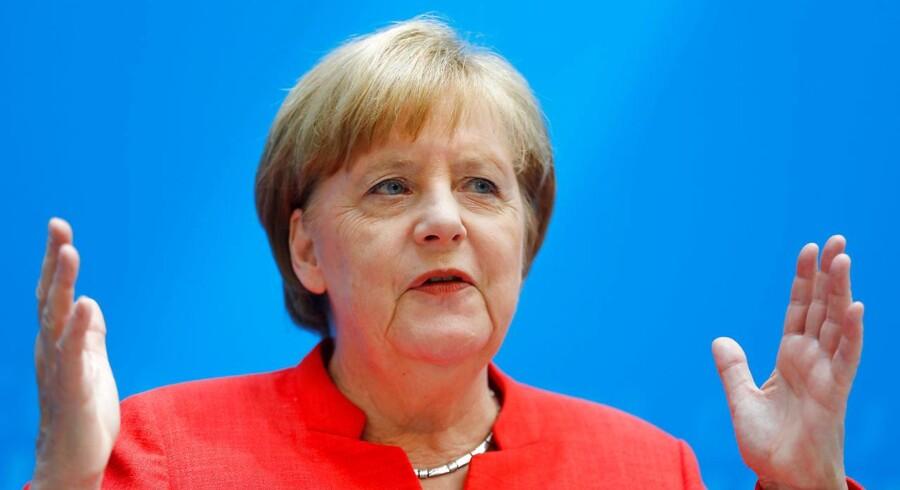 Den tyske kansler Angela Merkel under et pressemøde 18. juni 2018, hvor hun forklarede om et asylkompromis mellem de borgerlige søsterpartier CDU og CSU.