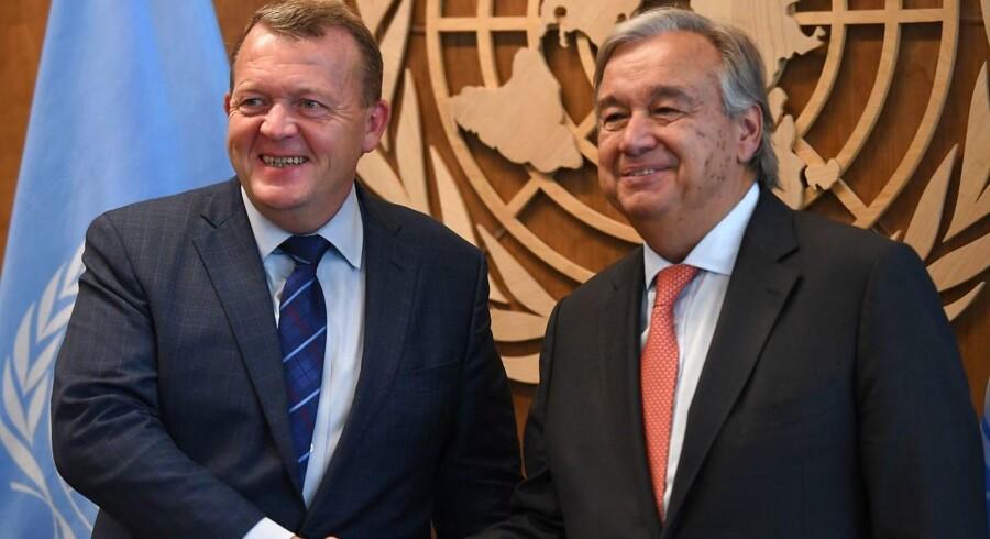 Statsminister Lars Løkke Rasmussen (V) sammen med FN-generalsekretær, General António Guterres, under FN's generalforsamling i New York.