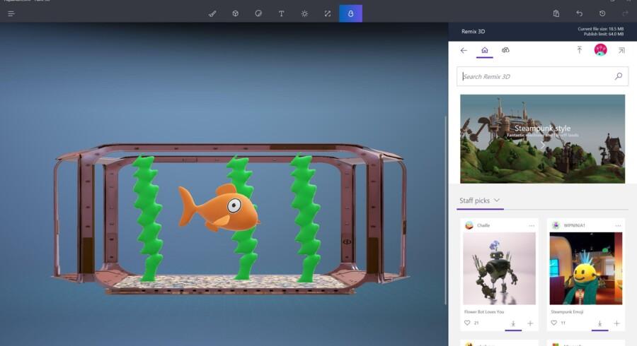 Man kan selv tegne i 3D eller hente billeder ind og gøre dem tredimensionale i det nye 3D Paint, når Windows 10 snart opdateres. Foto: Microsoft