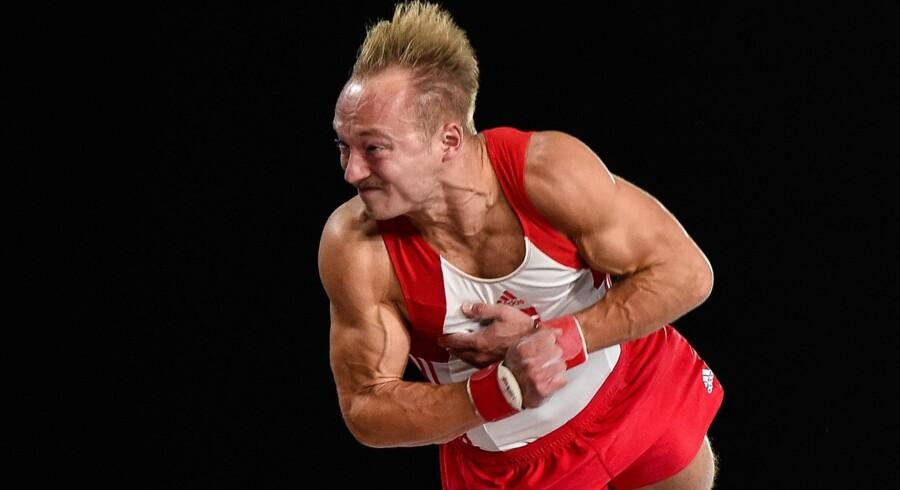 Gymnasten Joao Fuglsig er en mulig deltager ved VM på hjemmebane om lidt over tre år. Scanpix/Minas Panagiotakis