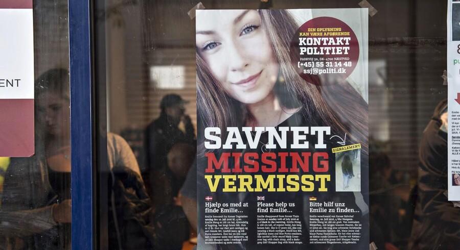 ARKIVFOTO 2016 af plakat med den savnede Emilie Meng. (Foto: Jens Nørgaard Larsen/Scanpix 2016)