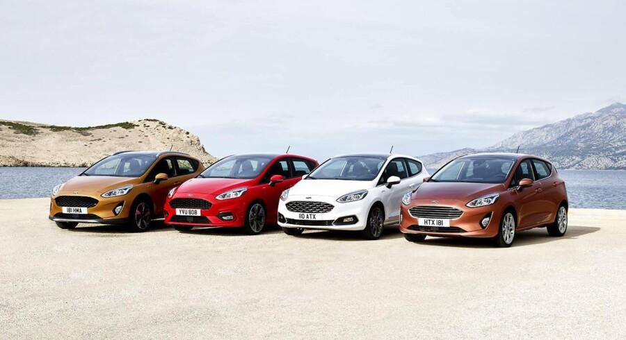 Stort modeludvalg. Udover motorer fra 70 til 140 hk (senere op til 200 hk) har Fiesta separate modeller for luksus, sport og aktiv fritid. Fra venstre Active med hævet undervogn, ST-Line med stylingkit, luksusmodellen Vignale og den mere almindelige Titanium
