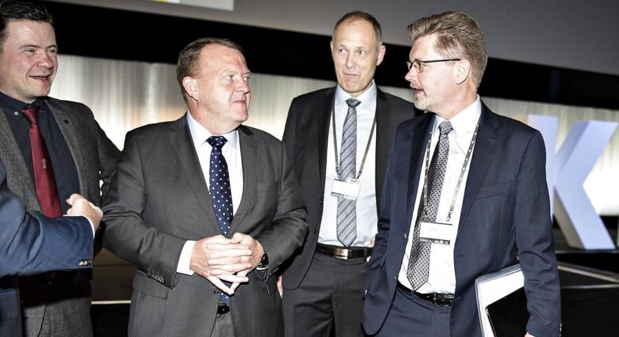 Kommunernes Landsforening startede torsdag deres 2-dages Topmøde 2017 i Aalborg Kongres og Kulturcenter. Her ses statsminister Lars Løkke Rasmussen , KL-formand Martin Damm og Københavns borgmester Frank Jensen.