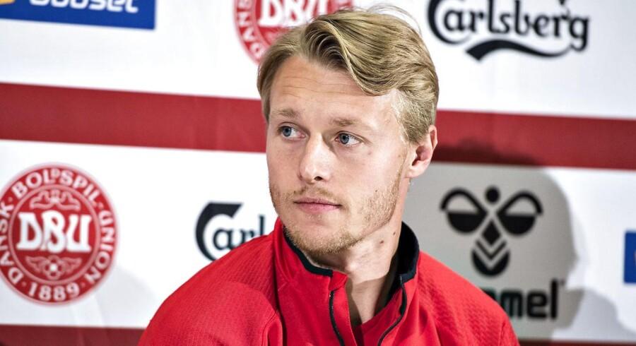 Simon Kjær ses her ved A-landsholdets pressemøde på Aalborg Stadion, mandag den 26. marts 2018. (Foto: Henning Bagger/Ritzau Scanpix)