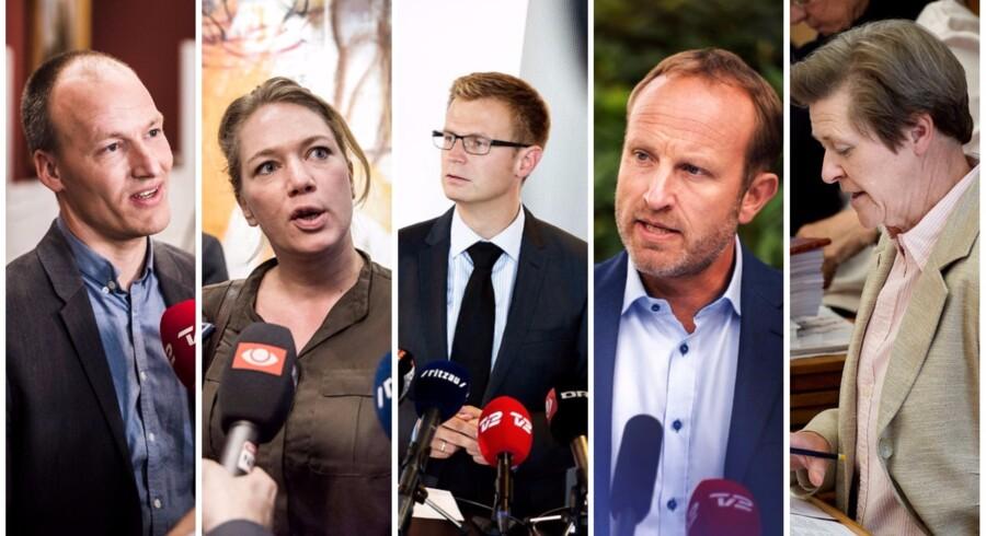 Pelle Dragsted, Enhedslisten, Lisbeth Bech Poulsen, SF, Benny Engelbrecht, Socialdemokratiet, Martin Lidegaard, Radikale Venstre og Josephine Fock, Alternativet,