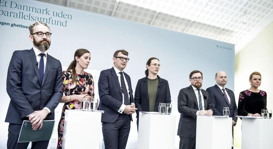 Pressemøde med ministre efter af regeringen har præsenteret sit ghetto-udspil »Ét Danmark uden parallelsamfund - ingen ghettoer i 2030« i Mjølnerparken i København, torsdag den 1. marts 2018