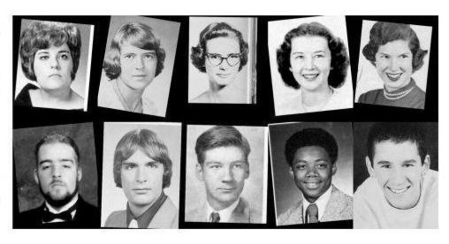 De amerikanske forskere fra Brown og Berkeley har via et computerprogram sirligt målt smilene på knap 38.000 mænd og kvinder fra de amerikanske High School årbøger. Foto: A Century of Portraits: A Visual Historical Rekord of American High School Yearbooks.