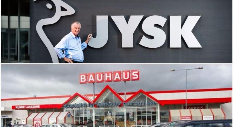 Jysk, Bauhaus og Skousen får kritik i sag om rabatter på Black Friday. Foto: Bo Amstrup og Kim Haugaard.