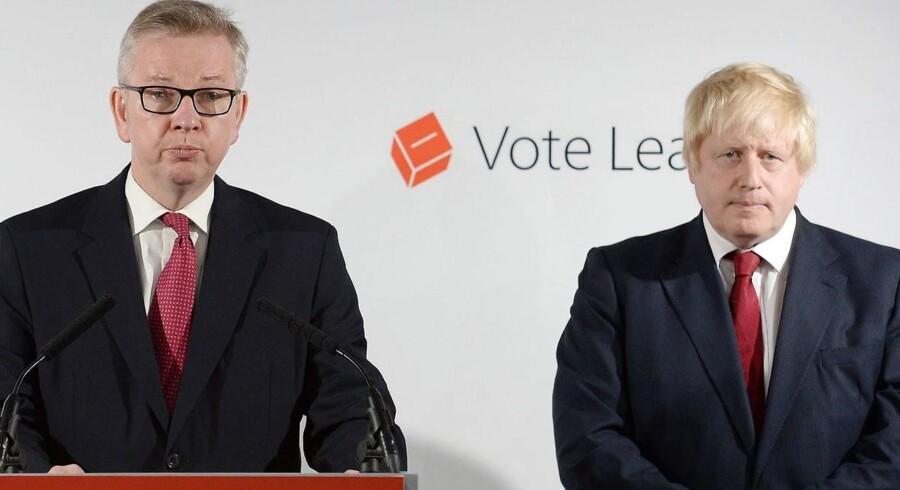 Arkivfoto: Den britiske justitsminister Michael Gove og den tidligere London-præsident Boris Johnson på en pressekonference 24. juni 2016.