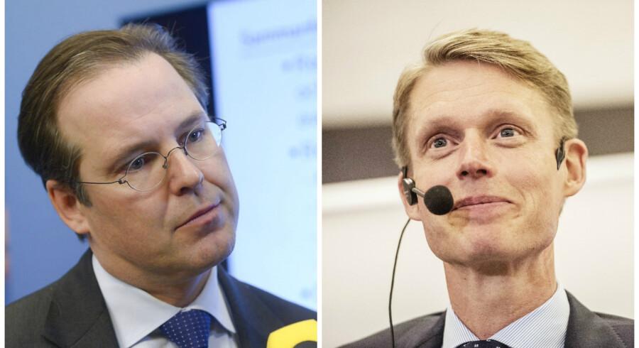 Den tidligre svenske finansminister Anders Borg (tv.) (Foto: Bertil Ericson) afløses i Kinneviks bestyrelse af Henrik Poulsen (th.) (Foto: Olafur Steinar) fra DONG