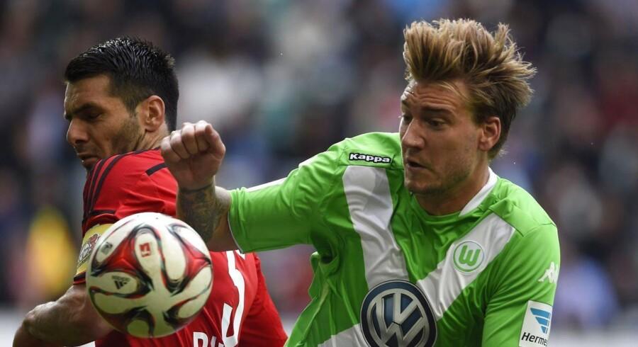 Danske Nicklas Bendtner fik fuld spilletid for Wolfsburg i søndagens sejr over Leverkusen.