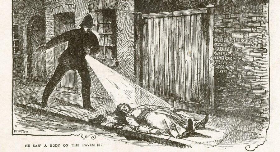 Tegning af øjeblikket hvor politiet finder liget af Mary Ann Nichols - et af de mange ofre for Jack The Rippers hånd