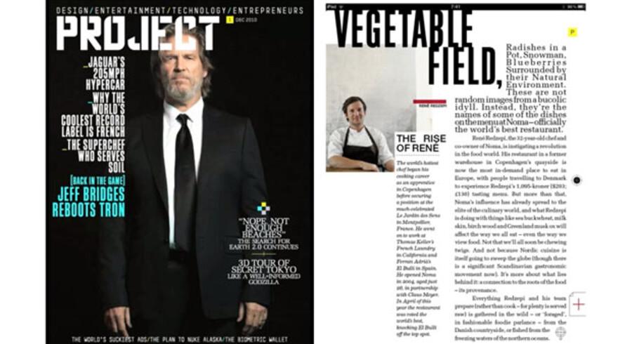 Forsiden med Jeff Bridges er animeret. Han bevæger sig, og der sker sjove ting. En go artikel om Nomas chefkok René Redzepi med detaljerede opskrifter fra restauranten.