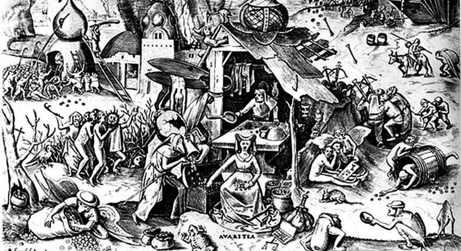 Grådighed – dødssynden, der forvandles til en dyd. Illustration: Pieter Breughel den Ældre (d. 1569)