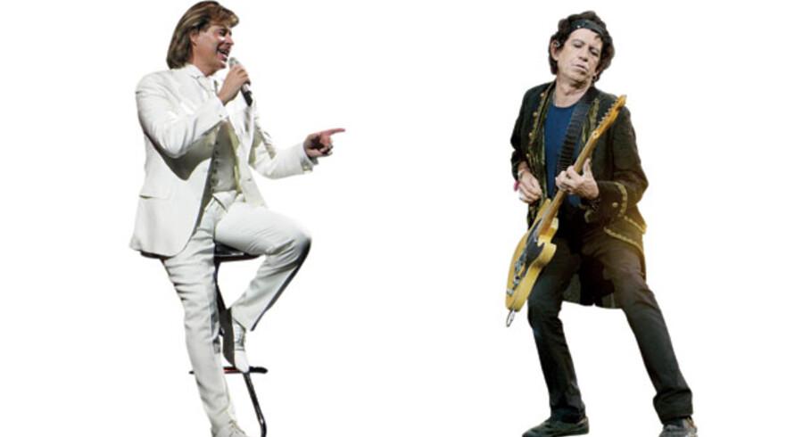 Schlagerkongen Hansi Hinterseer og Stones-guitaristen Keith Richards.