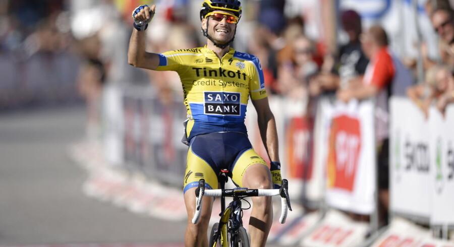 Tinkoff-Saxo-rytteren Manuele Boaro vinder 3. etape 2014, Skanderborg-Vejle, 176 km i Post Danmark Rundt.