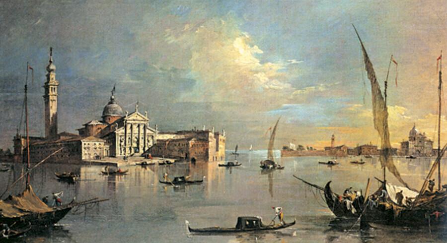 Fred hviler over vand og by i dette maleri fra omkring 1780 af Francesco Guardi forestillende øerne San Giorgio Maggiore og Giudecca. San Giorgio Maggiore ligger lige over for Markuspladsen, der var republikkens magtcentrum med Dogepaladset ved siden af Markuskirken. I 1797 erobrede Napoleon bystaten og gjorde en ende på dens selvstændighed, da han tvang den sidste doge - den 120. i rækken – til at træde tilbage. Senere samme år solgte Napoleon Venedig til Østrig.