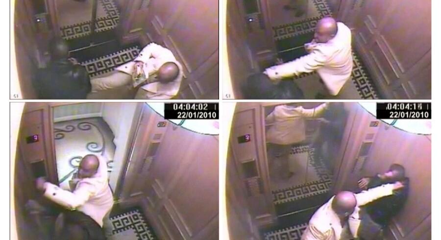Overvågningsbilleder fra elevatoren på hotellet, hvor Saud Abdulaziz bin Nasser al Saud overfalder sin tjener Bandar Abdulaziz.