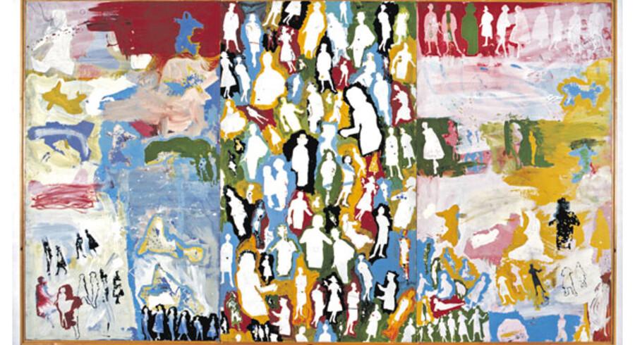 Skulle der mindre til at lave ballade i gamle dage, siden dette udsnit af et billede blev afvist af censuren på Kunstnernes Efterårsudstilling i 1963? Billedet, der er en del af et fællesmaleri skabt af Poul Gernes, Per Kirkeby og Peter Louis-Jensen, hedder »Trækvogn 13« efter den vogn – lånt af Berlingske Tidende – de tre kunstnere brugte til at trille deres værker fra Pilestræde til Den Frie Udstillings Bygning, hvor det altså ikke kunne blive vist. I dag tilhører det kunstmuseet i Silkeborg.