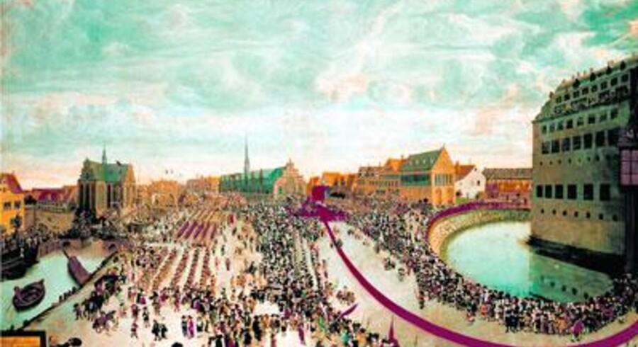 Arvehyldningen 18. oktober 1660. Billedet hænger normalt på Rosenborg Slot, men er udlånt til Frederiksborg Slots udstilling. På maleriet ser man tydeligt Holmens Kirke og Børsen. Kongeslottet yderst til højre. Maleri af Wolfgang Helmbach, som svinger hatten nederst t.v.