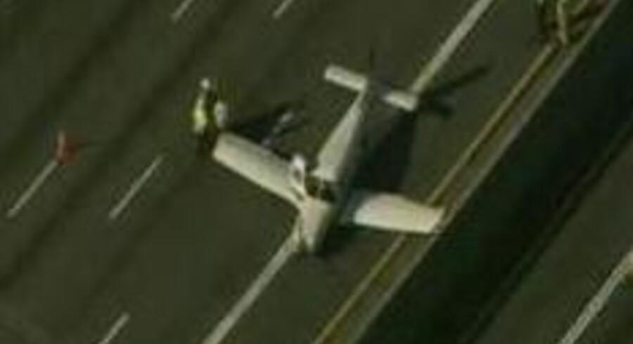 Et lille fly landede mandag midt på motorvejen i Atlanta i delstaten Georgia i USA.