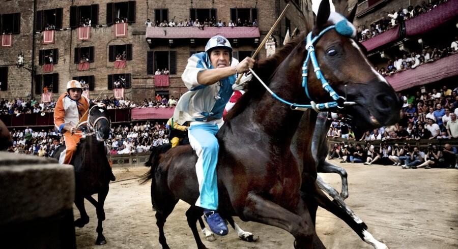 Løbet er skudt i gang. Byen har ventet hele året på dette øjeblik , og så varer løbet kun 75 sekunder eller tre omgange på Piazza del Campo. Løbet skydes i gang af en kanon, og rytterne sendes af sted uden stigbøjler eller saddel, men hver med en pisk af oksesener, som de ikke kun bruger på hesten, men også mod de andre ryttere.