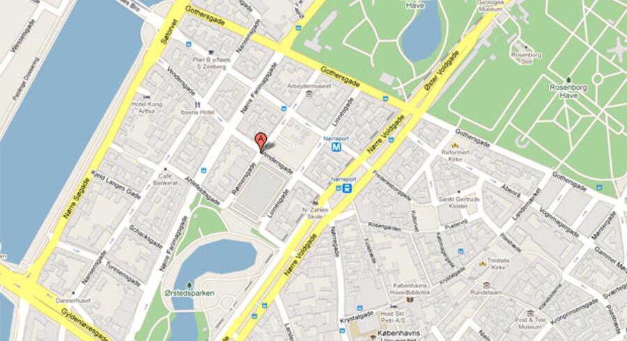 Bombesprængningen fandt sted på hotel Jørgensen ved Israels Plads i det indre København. Foto: Google Maps.