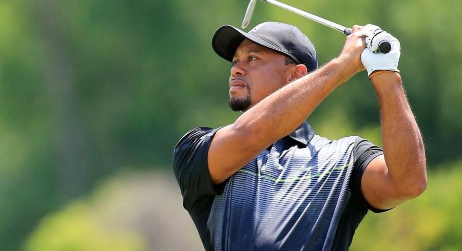 Tiger Woods gør sig klar til PGA-turneringen i Bethesda.